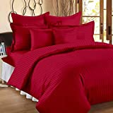 #7: BLUE EYE 100 % Cotton Premium Satin Stripe King Double Bed Fitted Bedsheet With Two Pillow Cover (72