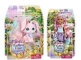 Barbie Original Mattel Chelsea (BKB55 + DKB52 Königreich Haarzauber Chelsea mit Haare pink + Häschen rosa)