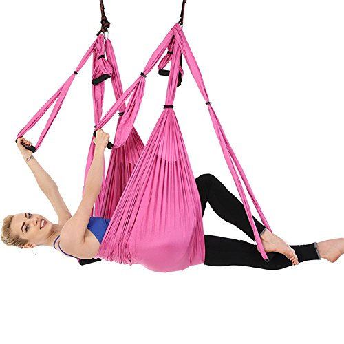 Indoor-antenne Fliege (Alger Anti-Schwerkraft Antenne Fliegen Hängematte Yoga Indoor Fallschirm Tuch Hängematte Keine Dehnung mit 6 Griffen, 250 * 150cm , pink)