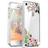 OKZone iPhone 5/5S/SE Hülle [mit HD-Schutzfolie], [Blumen Series] Transparent Silikon Malerei Muster Hülle TPU Blühende Blumen Design Schutzhülle für Apple iPhone 5/iPhone 5S/iPhone SE (Grün)