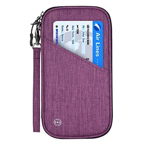 sepasshülle RFID-Blocker Schutzhülle | Familien Reise Brieftasche Pass Hülle Passport Etui Ausweistasche Dokumente Organizer für Damen/Herren 25 x 14 cm (Dunkelviolett) ()
