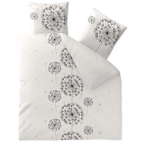 CelinaTex Bettwäsche 3tlg 200x220 Baumwolle Set Kopfkissen Bettbezug Reißverschluss atmungsaktiv Bett Garnitur 80x80 Kissen Bezug 0003349 Fashion Fancy anthrazit weiß schwarz grau Pusteblume
