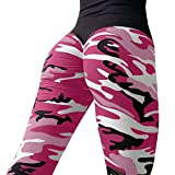 VENMO Damen Mode Workout Leggings/Fitness Sport Gym Running/Yoga Sporthose/Sporthose Lange Fitnesshose/Bedruckte Bunte Leggins/Damen Leggings lang Sport Yoga/Hose Stretch (Hot Pink, L)