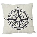 maltonyo17Nautisches Kissen Kompass Baumwolle Leinen Kissenbezug Deko Wohnzimmer