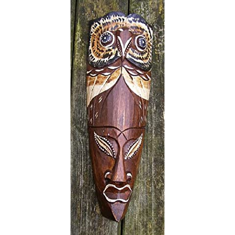 Maschera africana, saggio gufo intagliato a mano in legno 30cm da appendere alla parete