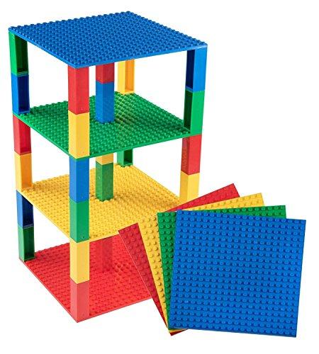 Stapelbare Premium-Bauplatten - inkl. 30 neuen 2x2-Bausteinen - kompatibel mit allen großen Marken - für Turm-Konstruktionen - Set aus 4 Platten - je 6