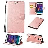 Linvei Galaxy Note 4 Hülle,Samsung Galaxy Note 4 Schutzhülle,Elefants Muster Handyhülle PU Ledertasche Flip Wallet Cover Case mit Stent-Funktion und Karten Slot - Rosa