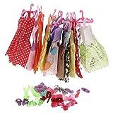 MagiDeal 24 Pièces Robe de Soirée Cintres et 12 Paires Chaussures Pour Poupées Barbies Accessoires