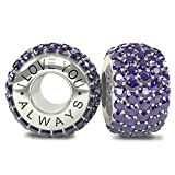 I Love You Always - Limited Edition - Luxurious and Exquisite Solid Sterling Silver 925 Royal Purple CZ Austrian Crystals Pave Bead Charm - will fit Pandora and any similar 4mm bracelets
