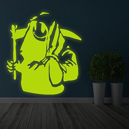 (91x 100cm) Banksy Glowing Vinyl Wand Aufkleber Death mit Happy Smile Face/Glow in Dark Doom mit Braid Aufkleber/Leuchtziffern Wandbild + Gratis Aufkleber Geschenk (Happy Face-wand-aufkleber)