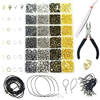 AOFOX 3143 Pieces Jewelry Findings Jewelry Making Starter Kit with Open Jump Rings, Lobster Clasps, Jewelry Pliers, Black Waxed Necklace Cord for Jewelry Making Supplies and Necklace Repair