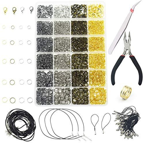 AOFOX 3143 Stück Schmuckzubehör Schmuckherstellungs-Starterset mit offenen Biegeringen, Karabinerverschlüssen, Schmuckzangen, schwarz gewachstem Halsband für Schmuckzubehör und Kettenreparatur