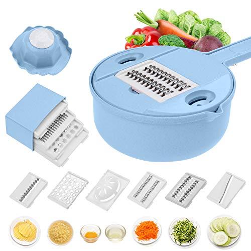 Jeslon Vegetable Mandoline Schneidemaschine - 10 in 1 Gemüsespiralizer Cutter und Shredder - Küche Mehrzweck-Julienne-Reibe mit Schutz und Eiweiß-Separator - Low Carb-Mahlzeiten -