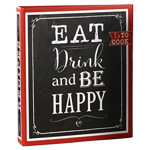 Goldbuch Rezeptebuch, Eat, Drink & Be Happy, 21 x 22,5 cm, 25 bedruckte Blätter, Ordner mit 2-Ring-Mechanik, Erweiterbar, Laminierter Kunstdruck, Schwarz/Rot, 69 038