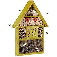 Relaxdays Casetta per Insetti api Selvatiche Coccinelle crisopidi da Balcone Giardino HxLxP: 40 x 27,5 x 7cm, Verde