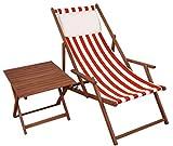 Erst-Holz Gartenliege Rot-weiß Liegestuhl Tisch Kissen Sonnenliege Deckchair Buche Dunkel 10-314 T KH