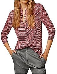 HEGNSONG Chemise à manches Longues pour Femmes Vintage Imprimé Rouge Blouse Chemisier Shirts