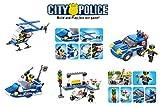 Baustein Baukasten Polizei 4xBaukästen mit 397 Teilen und 4 neuen Figuren!Baue 4 verschiedene Polizeimodelle!Kompatible