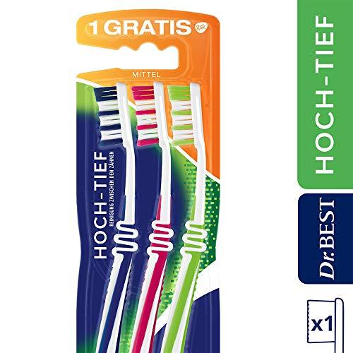 Dr.Best Hoch-Tief Zahnbürste, Mittel, Vorteilspack (2 + 1 Gratis), für eine gründliche Reinigung zwischen den Zähnen mit geschwungenem Bürstenprofil 58 ml