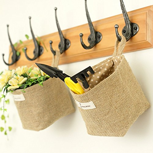 QHGstore Salons sacs Rangements Sack tissu Grocery tissu flowerpot logement Panier Hanging bande bleue bande bleue