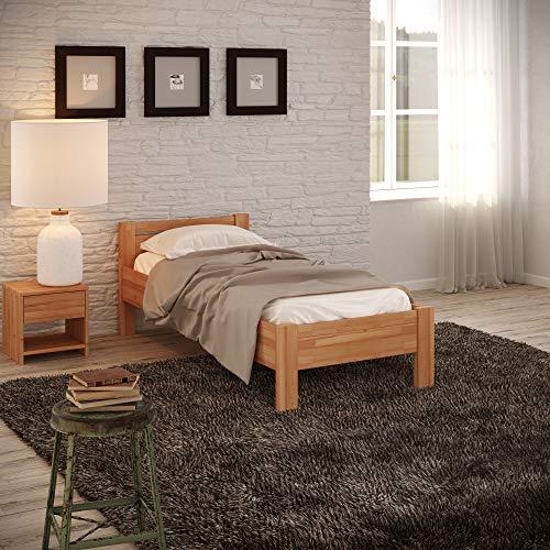 Krokwood Seniorenbett SiSi Massivholzbett in Buche in Komforthöhe FSC 100% Massiv Einzelbett, Natur geölt Buchebett, günstig Holzbett mit Kopfteil, massivholz Bett vom Hersteller (100 x 200 cm) -