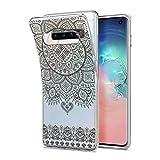 HULI Design Case Hülle für Samsung Galaxy S10 Plus Smartphone im Orientalischen Muster Graphit - Schutzhülle aus Silikon mit orientalischem Mandala Henna Ornament Traumfänger - Handyhülle mit Druck