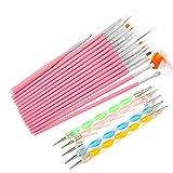 Ranvi pinceles para uñas, plumas de puntos marmoleo que detallan herramientas para pintar pintura 20 unids kit - lo mejor para el arte de uñas y pintura detallada facial (rosa)