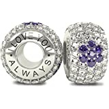 The Royal Collection - I Love You Always - Sterling Silver 925 3 Purple Flowers and White CZ Austrian Crystals Pave Bead Charm - will fit Pandora and any similar 4mm bracelets