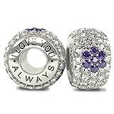 I Love You Always The Royal Collection - Cristaux en Argent Sterling 925 CZ - Charm en Perles pavées - Convient à Pandora et à Tous Les Bracelets de 3,5 mm similaires
