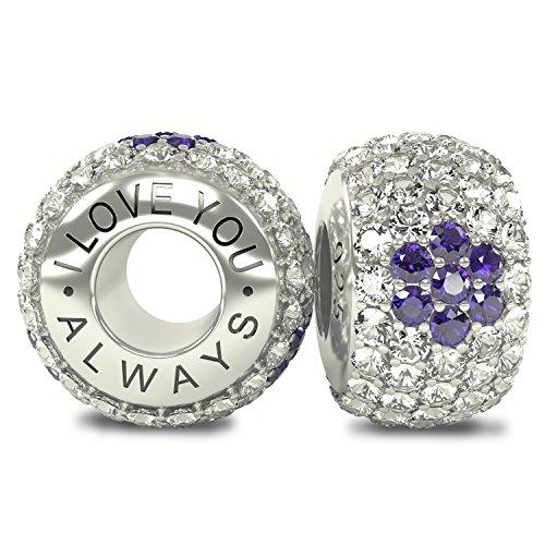 I Love You Always Die Royal Collection-massiv Sterling Silber 925CZ österreichischen Kristallen Pavé Bead Charm-passend für Pandora und ähnliche 3,5mm Armbänder