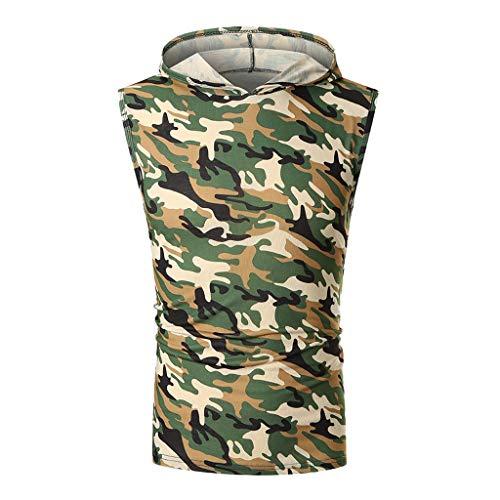 UJUNAOR Tank Top Herren Slim Fit Basic T-Shirt Tankshirt Mit Kapuze Ärmellos Muskelshirt Fitness Unterhemden (EU S/CN M, Camouflage 1) -
