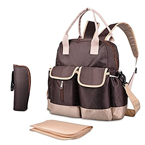 Uarter Diaper Backpack Interchangeable to Shoulder and Tote Bag - 3 In 1 Multi-functional with Changing Pad and Insulated