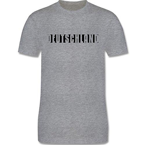 EM 2016 - Frankreich - Deutschland Schlichter Schriftzug - Herren Premium T-Shirt Grau Meliert