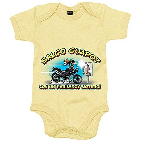 Body bebé Salgo guapo Radar con un par soy motero - Amarillo, 12-18 meses