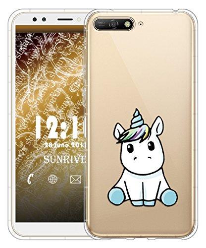 Sunrive Für Huawei Y6 2018 Hülle Silikon, Transparent Handyhülle Luftkissen Schutzhülle Etui Case für Huawei Y6 2018 5,7 Zoll(tpu Einhorn 3)+Gratis Universal Eingabestift