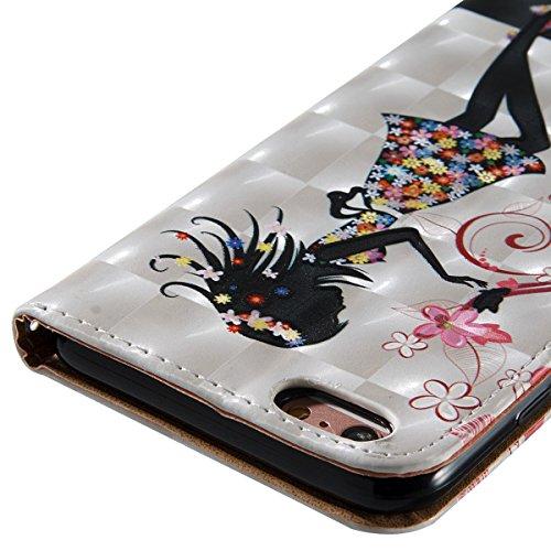 iPhone 6S Plus Hülle,iPhone 6 Plus Hülle,SainCat PU Leder Brieftasche Hülle im BookStyle Wallet Case Lederhülle Folio Schutzhülle Muster Schrubben Ledertasche Hülle Bumper Handytasche Skin Schale Soft Blumen-Mädchen