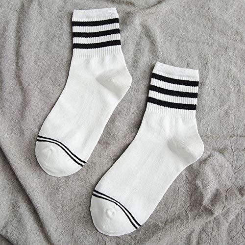 Alvndarling Einfarbige Damensocken (3 Paar) Bequeme, alltägliche, atmungsaktive gestreifte Socken - einfarbig (Color : B, Size : 4-7 UK/35-40 EU)