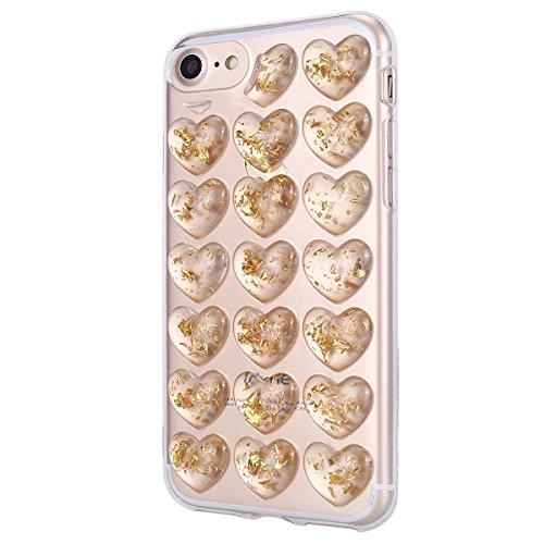 Cover iPhone 8 4.7, Custodia iphone 7 Glitter, MoreChioce Moda Ultra Slim 3d Gel Glitter Scintillio a forma di cuore Soft Silicone Gomma Morbido TPU Ragazza Women Trasparente Chiaro Cover Shockproof  Oro