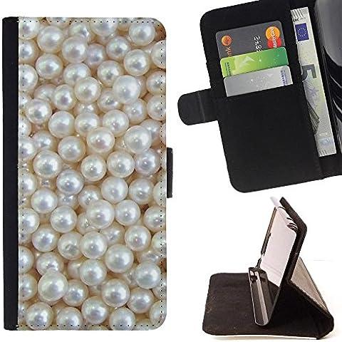 All Phone Most Case / Cellulare Smartphone cassa del cuoio della calotta di protezione di caso Custodia protettiva per LENOVO MOTO G4 / MOTO G4 PLUS // White Rich Pearl Jewel Gem - Moto Pearl White Moto