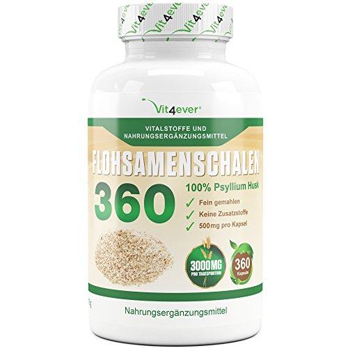 Flohsamenschalen 360 - 360 Kapseln pro Dose - 3000 mg pro Tagesportion - 100% Psyllium Husk - Flohsamen fein gemahlen - Premium Qualität - Vit4ever