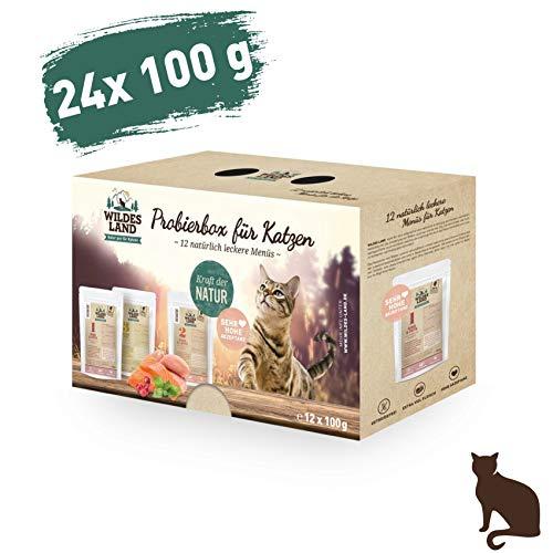 Wildes Land | Nassfutter für Katzen | Mix | 24 x 100 g | Getreidefrei | Extra viel Fleisch | Beste Akzeptanz und Verträglichkeit -