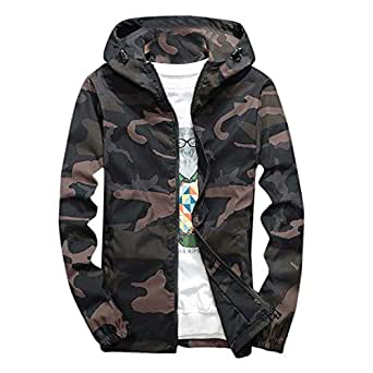 Allywit Camouflage Coat,Mens Autumn Winter Print Pullover Long Sleeve Hooded Plus Size
