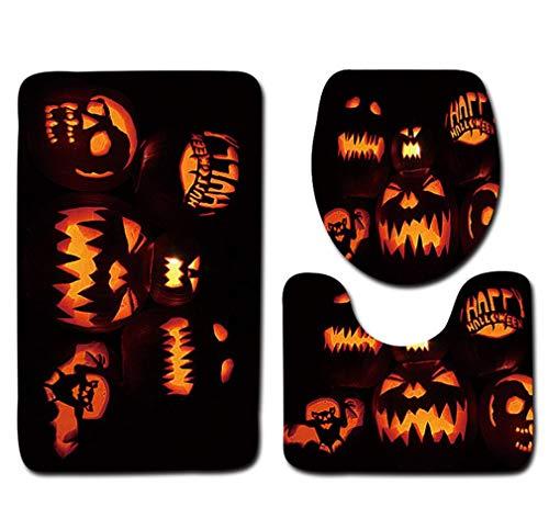 (OverDose Damen Halloween Schwarze Katze WC Sitzbezug und Teppich Badezimmer Set Überraschung Halloween Dekor)
