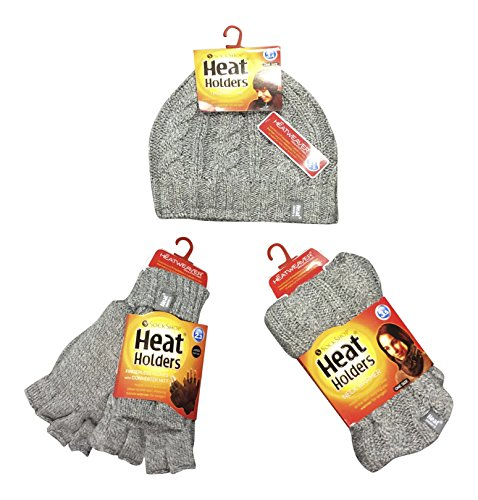 Heat Holders - Ladies thermal winter warm fleece cable knit Hat, Neck Warmer and Converter Gloves set