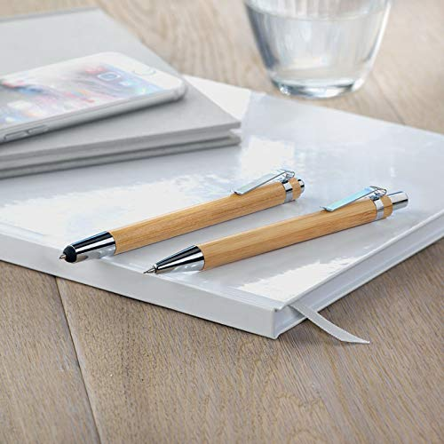 Notrash2003 Sustainable Writing Set Elegant Bamboo Wooden Ballpoint Pen Set of 2 Stationery with Mechanical Pencil Stationery in Cardboard Box