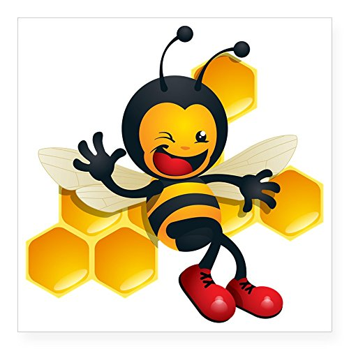 CafePress-Cute Baby Honig Bumble Bee quadratisch Aufkleber 7,6x 7,6cm-quadratisch Bumper Aufkleber Auto Aufkleber, 7,6x 7,6cm (klein) oder 12,7x 12,7cm (groß), weiß, Large - 5x5 -