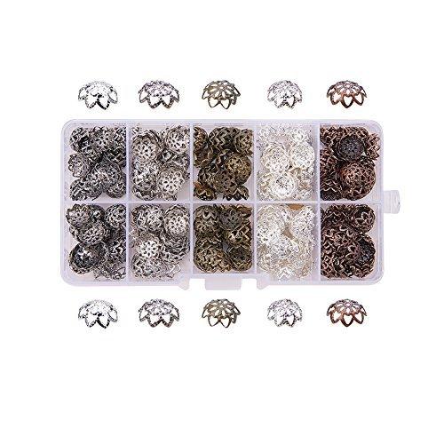 Pandahall 1 Scatola 525PCS Perline per Bigiotteria Coppette Copriperla Forma Fiore Colore Misto, 9x4mm, Foro: 1mm, 10g/ Scompartimento