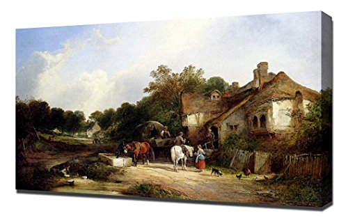 william-shayer-snr-the-road-side-inn-somerset-art-reproduction-on-canvas-a-high-quality-canvas-art-p