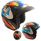 Casco Jet Bambino Junior Taglia S M L XL Arancione/blu/nero OMOLOGATO moto scooter con frontino Calotta lunga (M 49/50 CM)