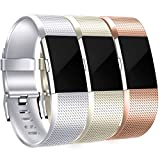 HUMENN Für Fitbit Charge 2 Armband, Charge 2 Armband Weiches Silikon Sports Ersetzerband Fitness Verstellbares Uhrenarmband für Fitbit Charge2 Large Champagner, Silber, Roségold